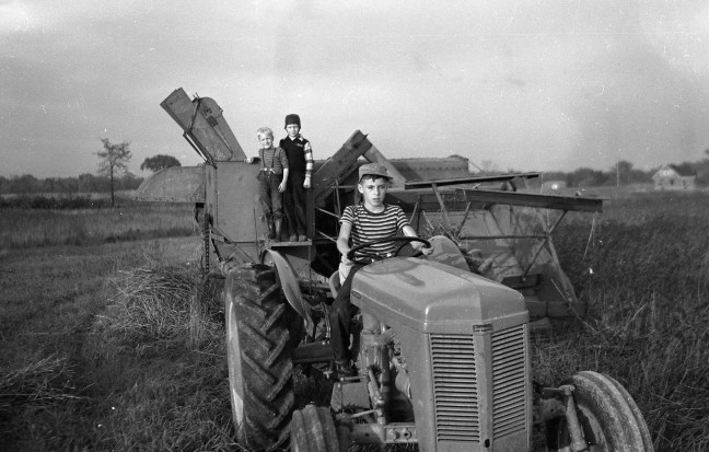 Spring boys on tractor