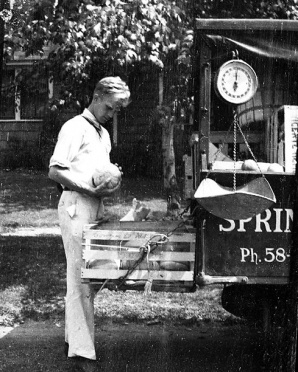Grandpa Ralph Spring weighing produce