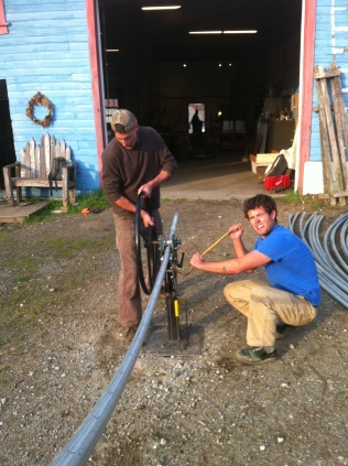 Tim and North pipe wrangling